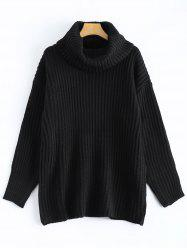 Drop Shoulder Turtleneck Chunky Sweater -
