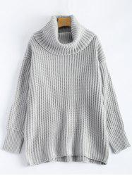 Drop Shoulder Turtleneck Chunky Sweater - LIGHT GRAY