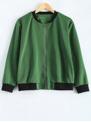 Plus Size  Fitted Bomber Jacket - ARMY GREEN