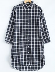 Plus Size Plaid High Low Button Down Casual Shirt Dress