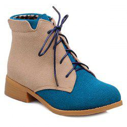Suede Color Block Lace-Up Boots -