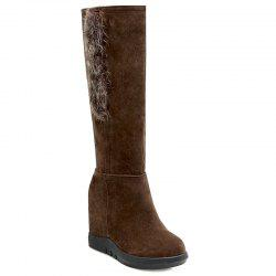 Knee-High Faux Fur Hidden Wedge Boots