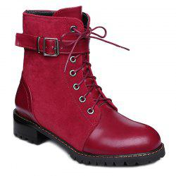 Suede Spliced Buckle Strap Lace-Up Combat Boots