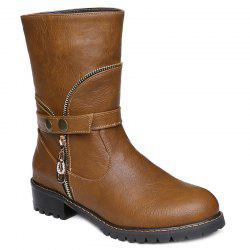 Zip Embellished Mid-Calf Boots - BROWN 40
