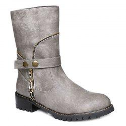 Zip Embellished Mid-Calf Boots