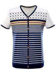 V-Neck Button Embellished Striped Contrast Trim T-Shirt -