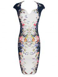 Vintage Slit Print Sheath Dress -