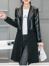 Leather Panel Long Collarless Coat