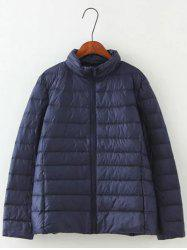 Long Sleeve Padded Down Jacket - CADETBLUE