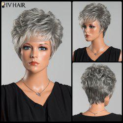 Siv Short Layered Colormix Side Bang Curly Human Hair Wig - COLORMIX
