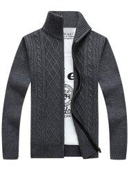 Stand Collar Zip-Up Cable Knitted Cardigan - GRAY 3XL