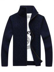 Stand Collar Zip-Up Cable Knitted Cardigan