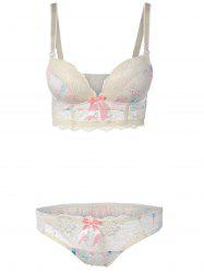 Lace Spliced Floral Print Push-Up Bra Set - OFF-WHITE
