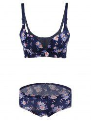 Push-Up Floral Bra and Panty Set - DEEP BLUE