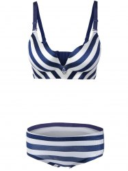 Padded Striped Color Block Push Up Bra Set - BLUE