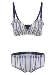 Padded Striped Seamless Push Up Bra Set