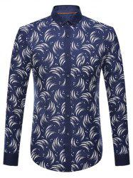 Circinate Print Long Sleeve Button-Down Shirt
