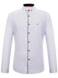 Square Print Long Sleeve Button-Down Shirt - WHITE