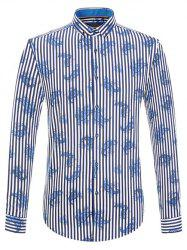 Vertical Stripe and Paisley Print Long Sleeve Button-Down Shirt - BLUE