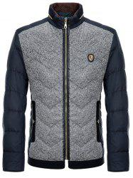 Badge Embellished Spliced Design Zip-Up Down Jacket - CADETBLUE