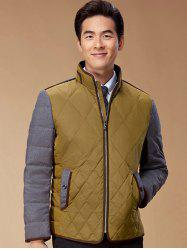 Argyle Color Block Spliced Design Zip-Up Down Jacket - COLORMIX 2XL