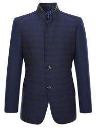 PU-Leather and Rib Splicing Stand Collar Single-Breasted Woolen Coat - CADETBLUE 2XL