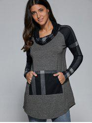 Cowl Neck Plaid Patchwork Pullover