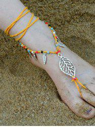 Handmade Feuille perlé Layered Toe Anklet - Orange