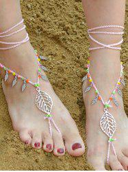 Handmade Feuille perlé Layered Toe Anklet - ROSE PÂLE