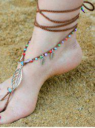 Handmade Leaf Beaded Layered Toe Girl Hippie Anklet - GOLD BROWN