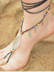 Handmade Feuille perlé Layered Toe Anklet -