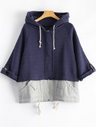 Hooded Plus Size Spliced Zip Up Hoodie - DEEP BLUE