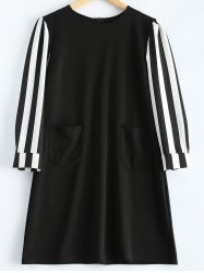 Striped Long Sleeve A-Line Dress - BLACK 4XL