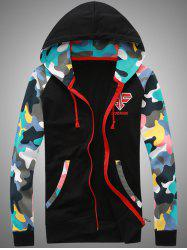 Camouflage Splicing Embroidered Hooded Zip-Up Hoodie -