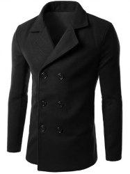 Double Breasted Lapel Collar Wool Blend Coat - BLACK