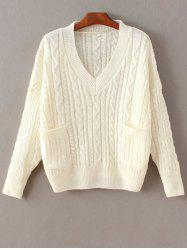 Cable Knit Double Pocket V Neck Sweater -