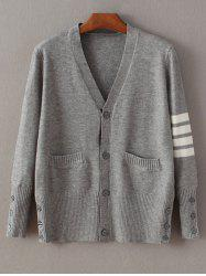 Buttoned Striped Fitting Cardigan -