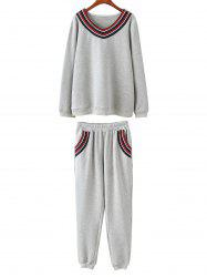 Plus Size Fleece Sweatshirt With Pants Gym Suit -