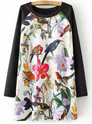Plus Size Bird Floral Print Tunic Dress -