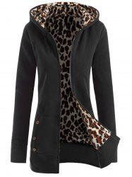 Zipper Fly Thicken Leopard Pattern Hoodie - BLACK GREY