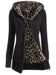 Zipper Fly Thicken Leopard Pattern Hoodie - BLACK
