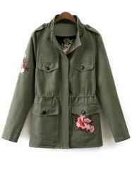 Stand Neck Tiger Embroidered Military Jacket -