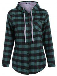 Plaid Pocket Design Buttoned Hoodie - BLACK AND GREEN