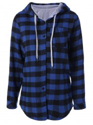 Plaid Pocket Design Buttoned Hoodie - BLUE AND BLACK
