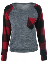 Plaid Trim Single Pocket Sweatshirt - CHECKED