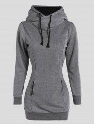 Slimming Pullover Pockets Design Hoodie - GRAY 3XL