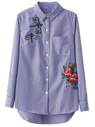 Striped High Low Dragonfly Embroidered Shirt - BLUE AND WHITE L