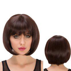 Impressive Short Full Bang Straight Heat Resistant Fiber Wig - DEEP BROWN