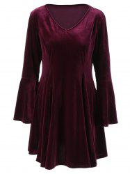Flare Long Sleeve Velvet Skater Cocktail Dress -