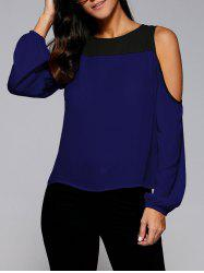Cold Shoulder Contrast Trim Blouse -